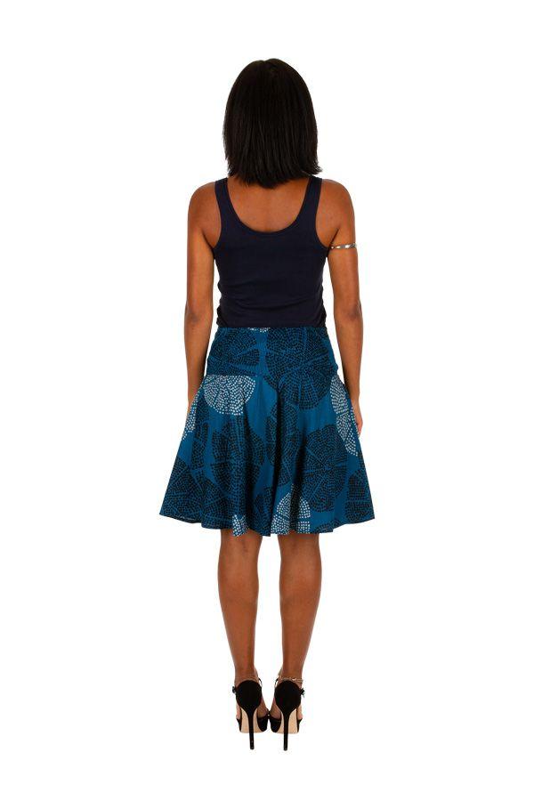 Jupe d'été courte bleue avec un joli imprimé fashion Gaelle 305614