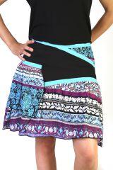 Jupe d'été courte et légère Imprimée et Colorée Turquoise Lisa 291536