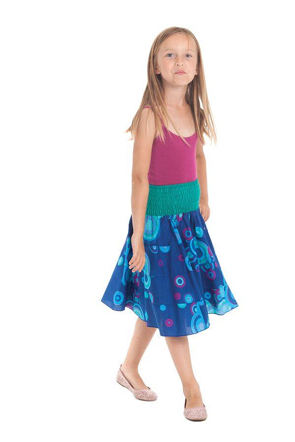 Jupe d'été Mi-longue pour Fille à 4 volants Candy Bleue Cercles 279755
