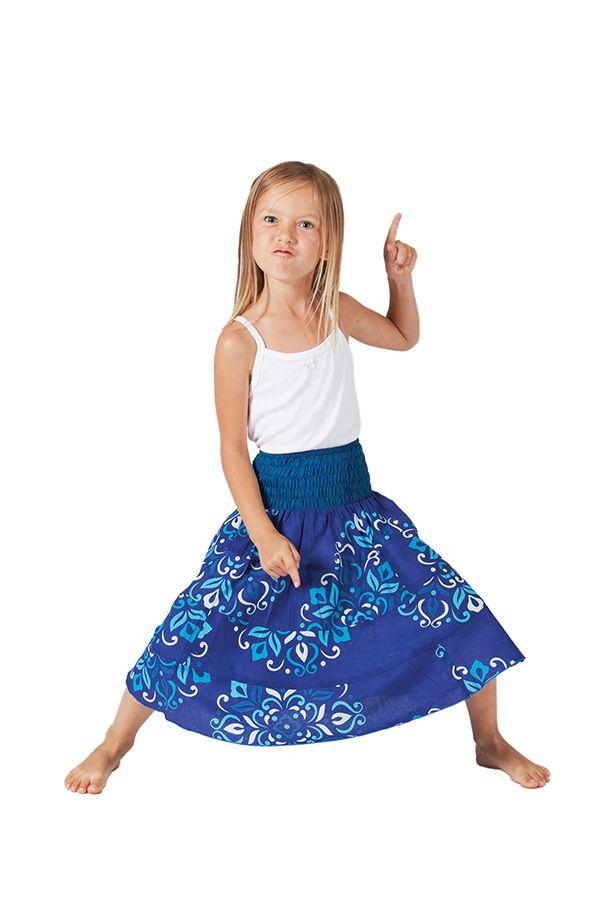 Jupe d'été Mi-longue pour Fille à 4 volants Candy Bleue 279760