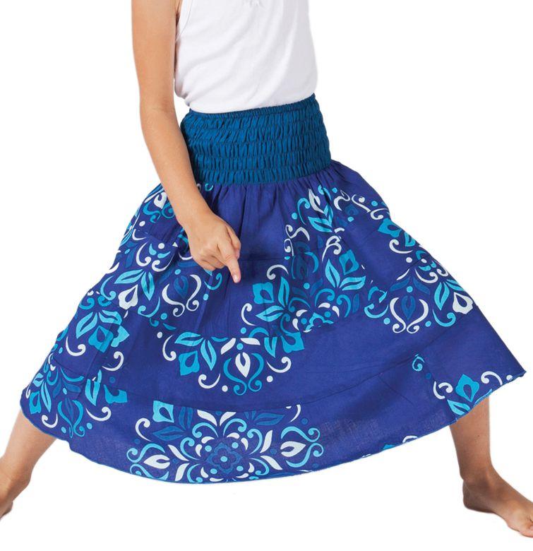 Jupe d'été Mi-longue pour Fille à 4 volants Candy Bleue 279761