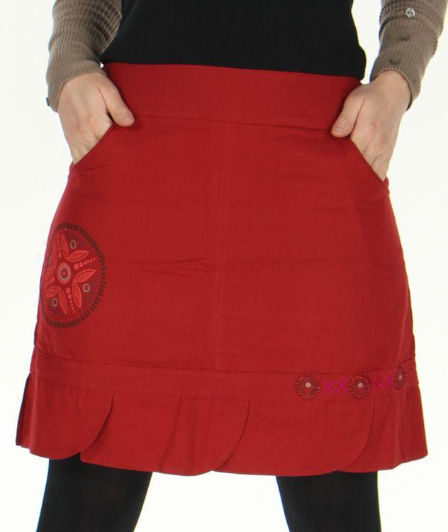 Jupe droite Ethnique et Originale en coton Zalaké Rouge 278384