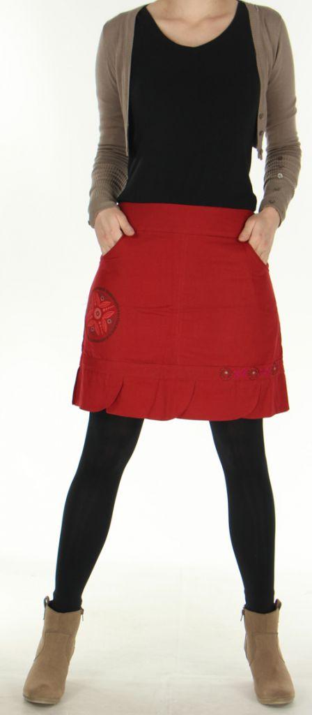 Jupe droite Ethnique et Originale en coton Zalaké Rouge 278385