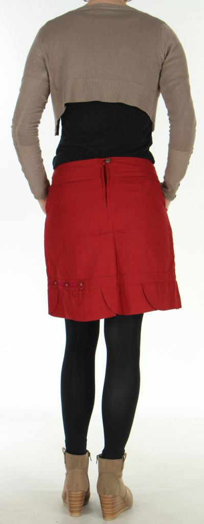 Jupe droite Ethnique et Originale en coton Zalaké Rouge 278386