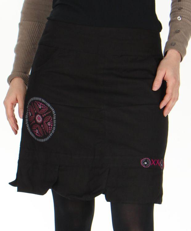 Jupe droite Noire en coton Ethnique et Originale Zalaké 278387