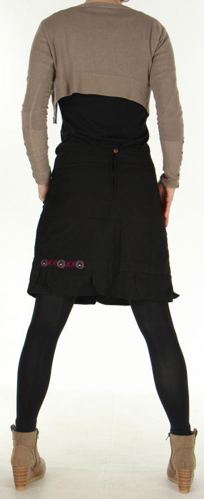 Jupe droite Noire en coton Ethnique et Originale Zalaké 278389