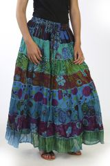 Jupe en voile de coton Hippie et Chic colorée Esmeralda Turquoise 291810