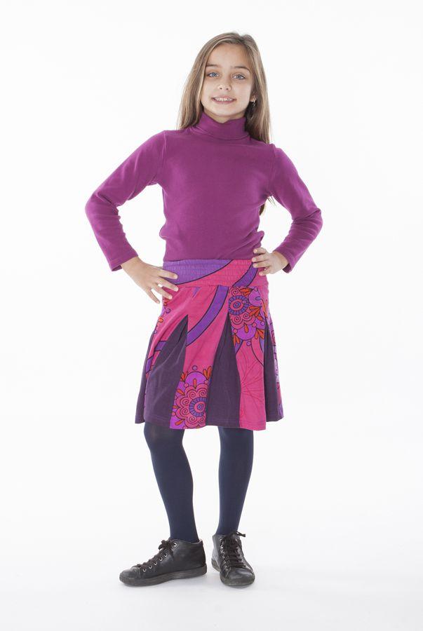 Jupe enfant courte Rose imprimée et plissée Sylvia 302272