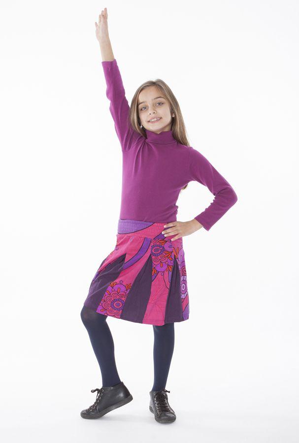 Jupe enfant courte Rose imprimée et plissée Sylvia 302273