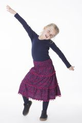 Jupe Enfant Imprimée et Colorée avec Pompons Rhoda 286141