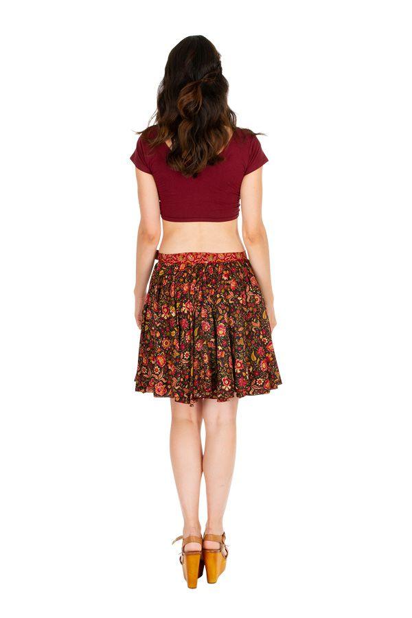 Jupe femme courte évasée avec un imprimé de fleurs Sylvie 305830