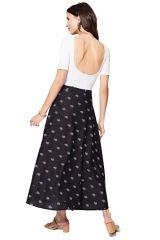 Jupe femme portefeuille longue noire imprimée et tendance Analisa