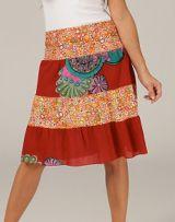 Jupe femme rouge d'été avec imprimé ethnique Claya 315057