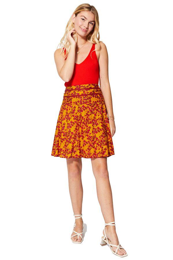 Jupe femme trapèze taille haute à fleurs bohème Annabell