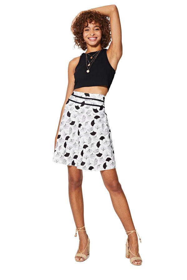Jupe femme trapèze taille haute chic en coton Faysa