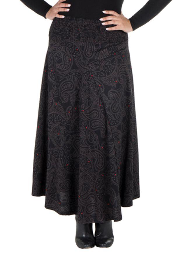 Jupe grande taille hivers longue Noire imprimée et originale Manna 298391