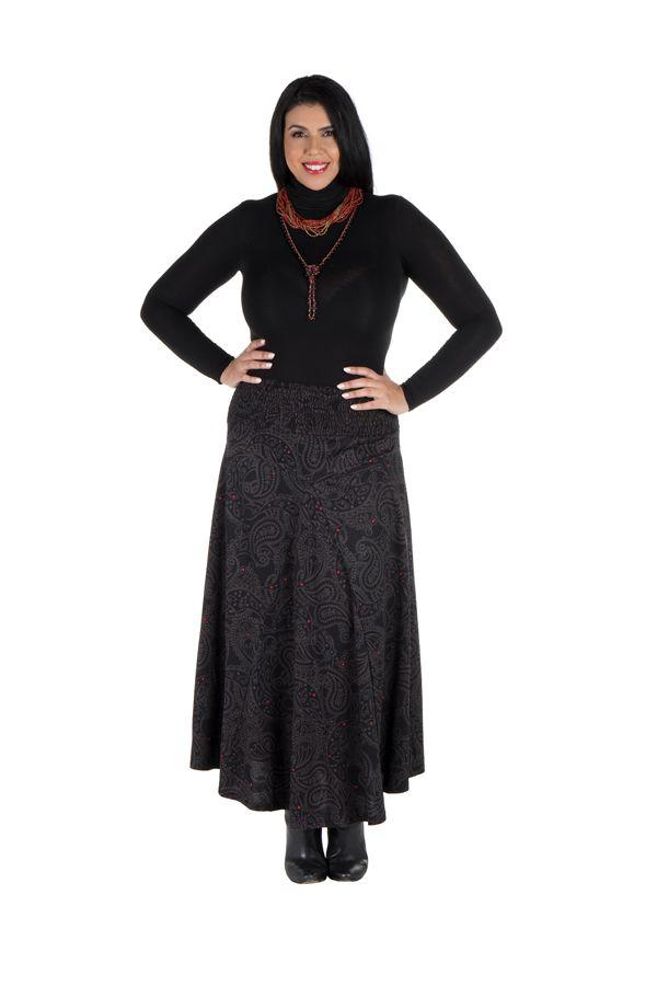 Jupe grande taille hivers longue Noire imprimée et originale Manna 298392