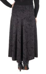 Jupe grande taille hivers longue Noire imprimée et originale Manna 298393