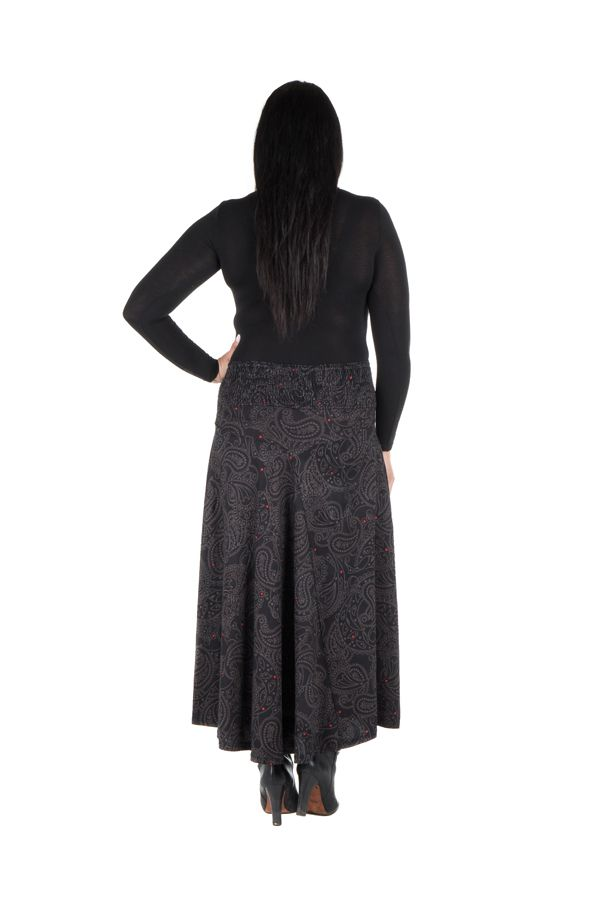 Jupe grande taille hivers longue Noire imprimée et originale Manna 298394