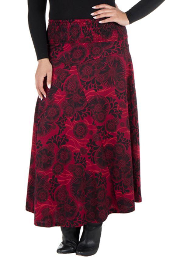Jupe grande taille hivers longue Rouge originale et ethnique Niala 298399