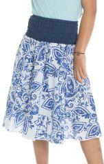 Jupe imprimé original en coton avec un smocks à la taille Jane 294091