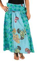 Jupe longue 2en1 transformable en robe bustier Bleue Impirmée et Colorée Létiana 285989