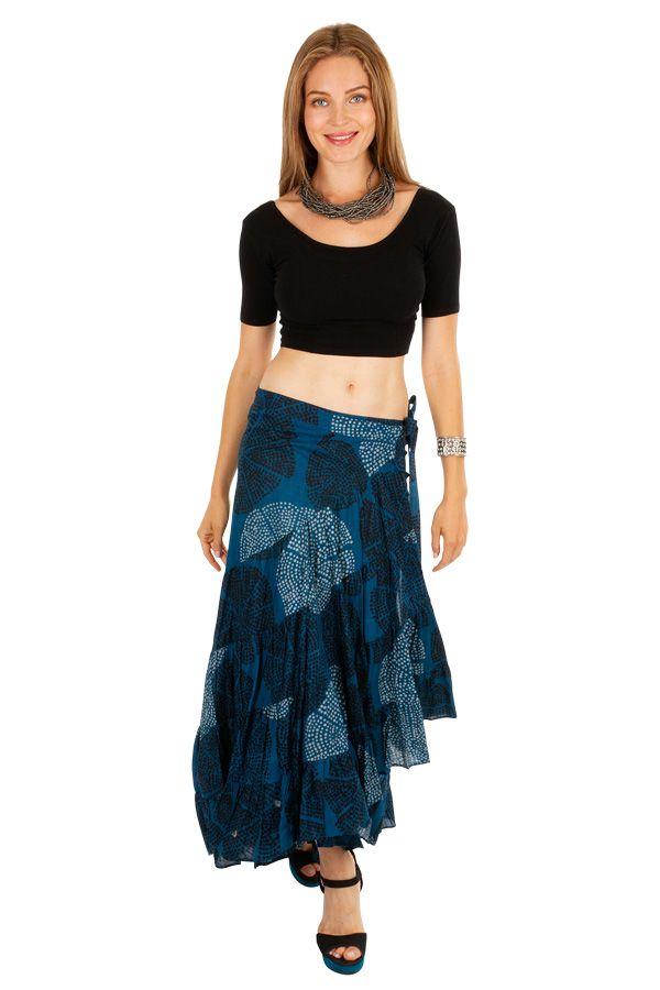 Jupe longue asymétrique de couleur bleue mode ethnique Nezia