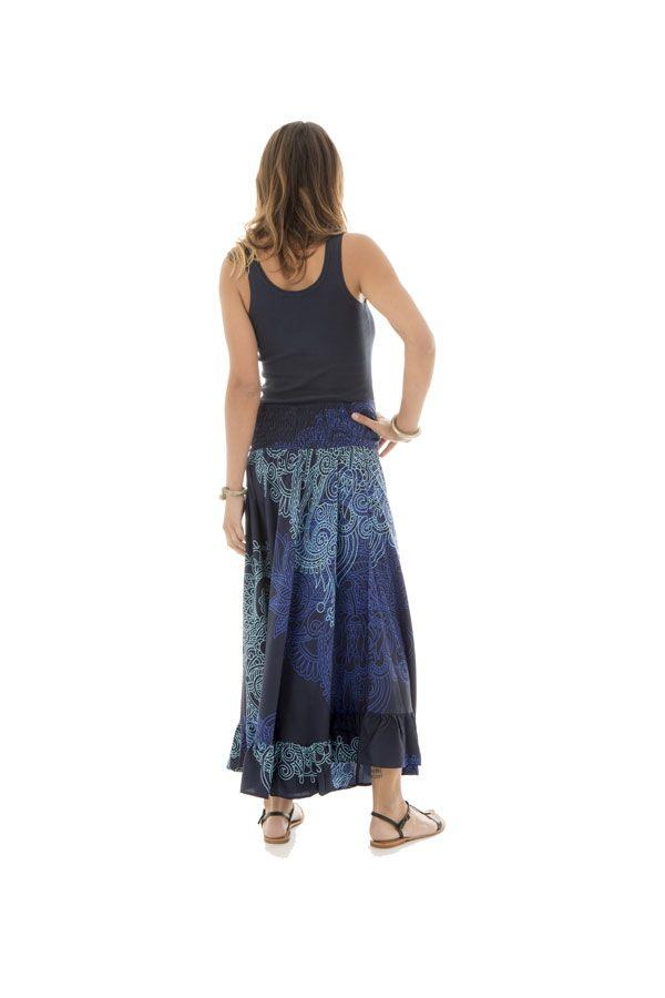 jupe longue avec motifs originaux bleus Malaya 289227
