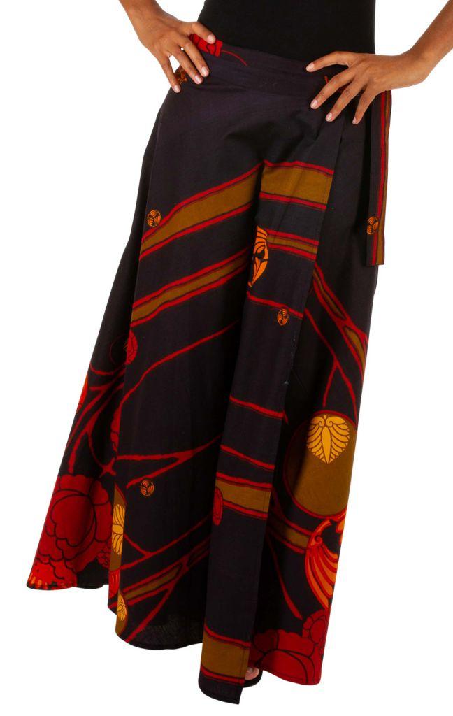 Jupe longue avec un imprimé style bohème noire et rouge Camille 305625