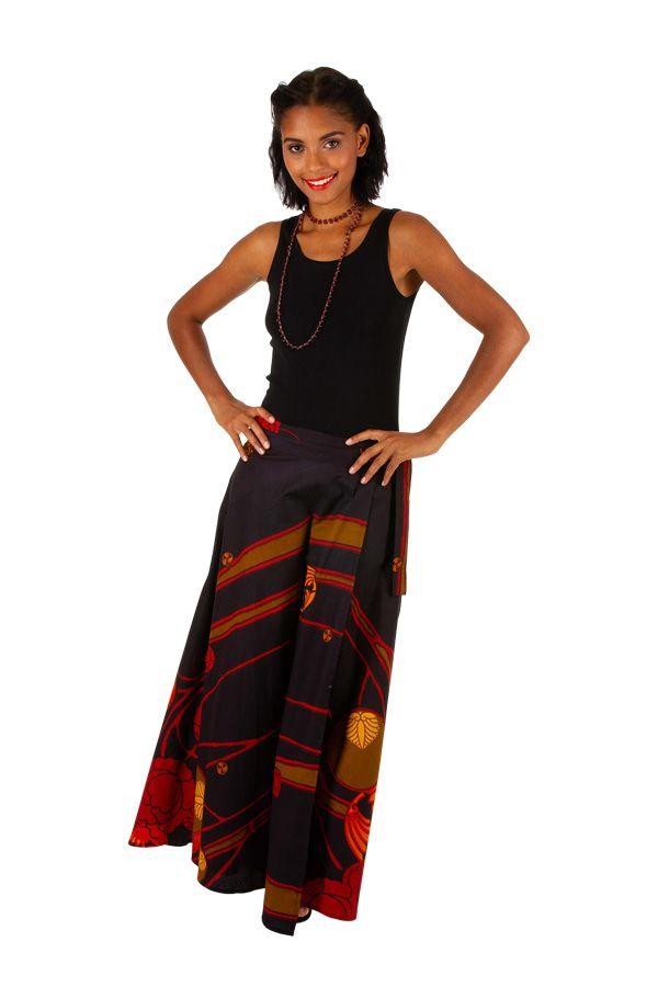 Jupe longue avec un imprimé style bohème noire et rouge Camille 305626