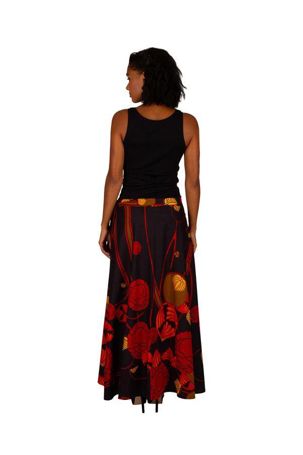 Jupe longue avec un imprimé style bohème noire et rouge Camille 305627