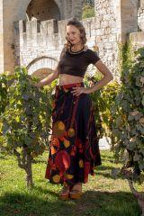 Jupe longue avec un imprimé style bohème noire et rouge Camille 305628