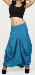 Jupe longue bleue ethnique coupe bourgeon uni Saline 271110