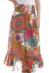 Jupe longue colorée avec imprimé fantaisie Blanc Marena 297954