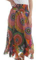 Jupe longue colorée avec imprimé fantaisie Noir Marena 297948