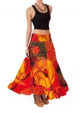 Jupe longue colorée tons orange Betty 267468
