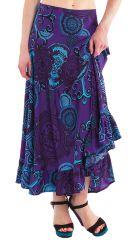 Jupe longue d'été Violette Imprimée et Tendance Ludmila 281235