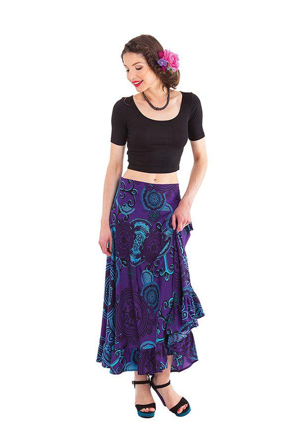 jupe longue d ete violette imprimee et tendance ludmila. Black Bedroom Furniture Sets. Home Design Ideas