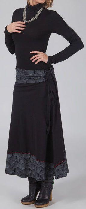Jupe longue d\'hiver originale avec imprimé noir tendance Margaux