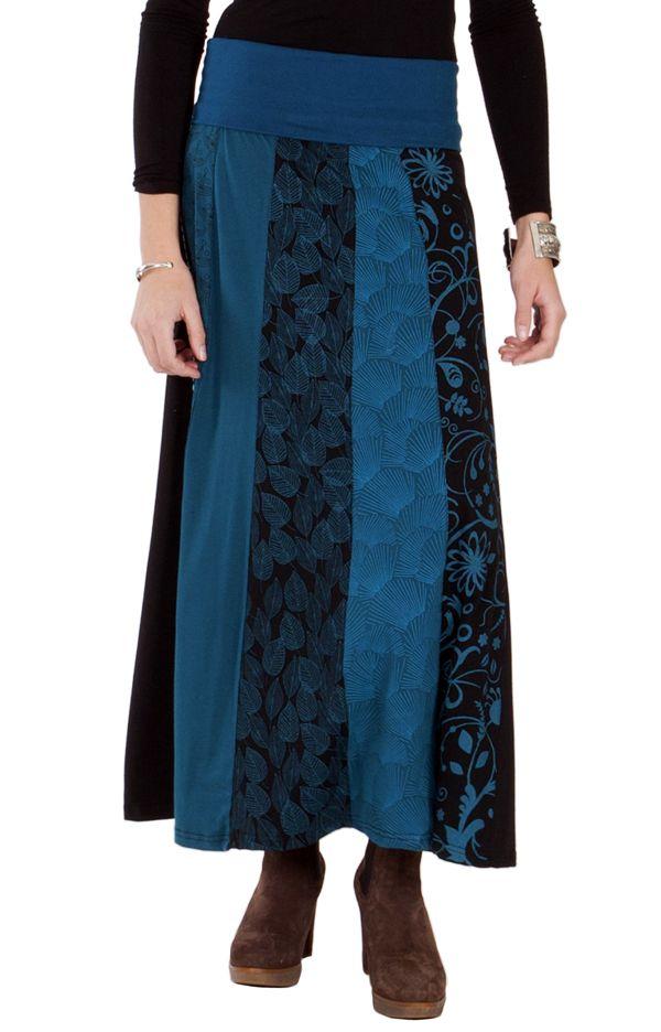 jupe longue d 39 hiver pour femme ethnique andala bleue