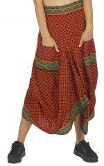 Jupe longue drapée style ethnique imprimé wax Renardel