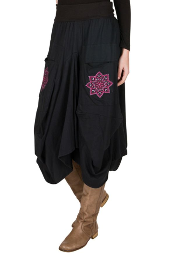 Jupe longue en coton ample avec deux poches fantaisie Delphine 301261
