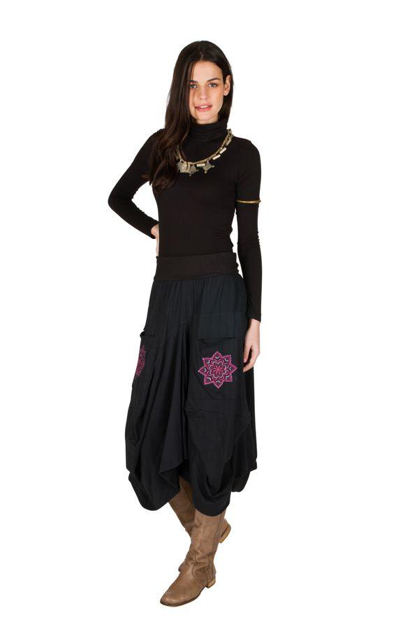 Jupe longue en coton ample avec deux poches fantaisie Delphine 301262