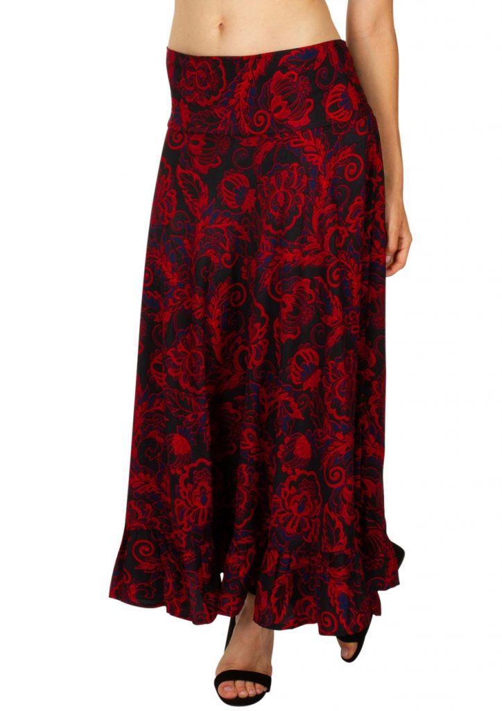 Jupe longue ethnique-chic imprimée de fleurs Joline 309126