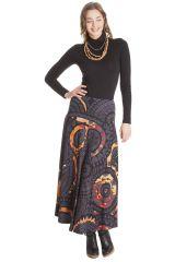 Jupe longue Ethnique et Originale Kazia Grise et Orange 285515