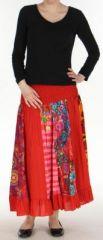 Jupe longue ethnique rouge transformable 2en1 Elise 271160