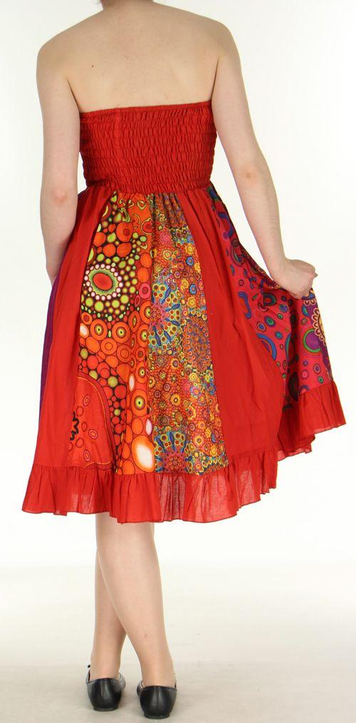 Jupe longue ethnique rouge transformable 2en1 Elise 271161