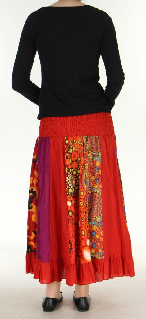 Jupe longue ethnique rouge transformable 2en1 Elise 271162