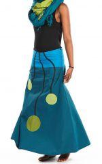 Jupe longue évasée bleue en coton léger pour l'été Vinola 305580