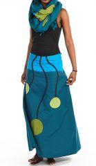 Jupe longue évasée bleue en coton léger pour l'été Vinola 305581
